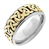 14K Two Tone Gold Celtic Love Knot Men's Comfort Fit Wedding Band (8.5mm) Size-10c1
