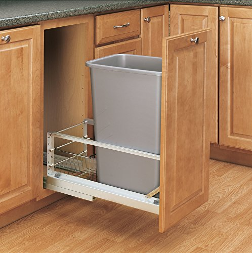 Rev-A-Shelf - 5349-1550DM-117 - Single 50 Qt. Pull-Out Brushed Aluminum and Silver Waste Container