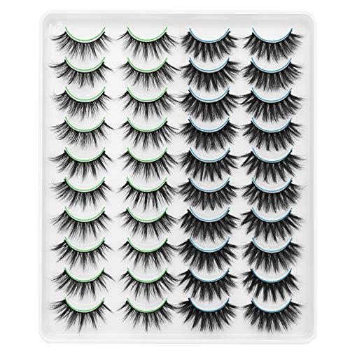 DYSILK 20 Pairs 6D Mink Eyelashes Faux Fluffy Wispy Dramatic False Eyelashes Long Handmade Natural Look Soft Cross Fake…