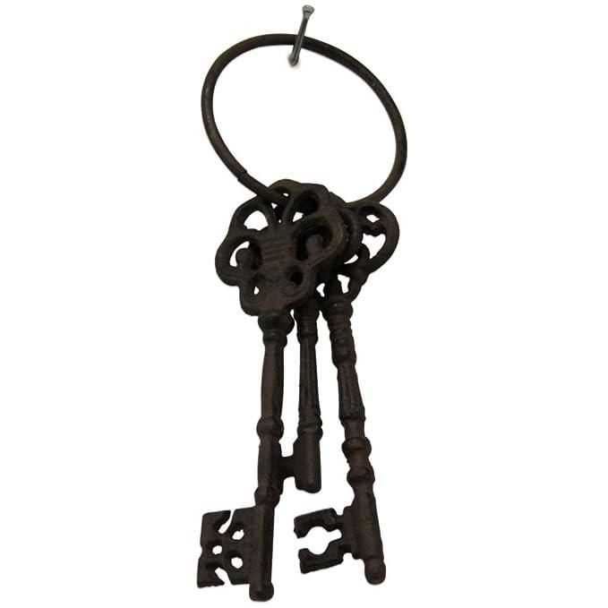 Schlüsselbund 5 Schlüssel Eisen Metall braun Shabby Landhaus Deko Vintage retro