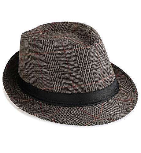 (Sumolux Mens Fedora Hat Hat Band British Style Light Weight Panama Cap Summer Autumn)