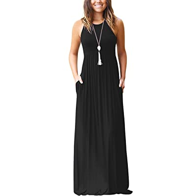 GRECERELLE Women's Sleeveless Racerback Loose Plain Maxi Dresses Casual Long Dresses with Pockets at Women's Clothing store