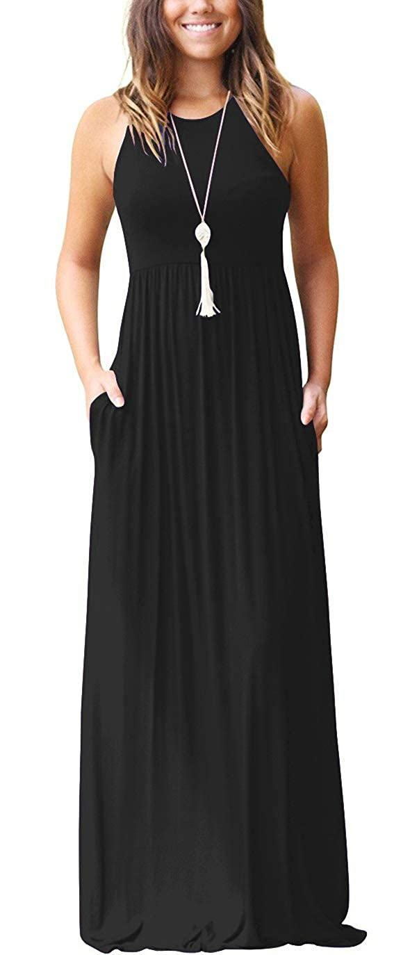 63fc5157d3e GRECERELLE Women s Sleeveless Racerback and Long Sleeve Loose Plain Maxi  Dresses Casual Long Dresses with Pockets at Amazon Women s Clothing store