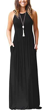 3cee8879553e GRECERELLE Women's Sleeveless Racerback and Long Sleeve Loose Plain Maxi  Dresses Casual Long Dresses with Pockets