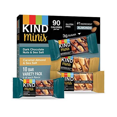 KIND Bar Mini's, Dark Chocolate Nuts & Sea Salt/Caramel Almond & Sea Salt, Gluten Free, 100 Calories, Low Sugar, 60 Count