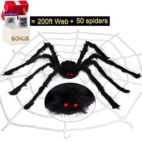 Halloween Decorations, 49in Scary Large Realistic Hairy Spider, 50pcs Small Spiders, 200ft Creepy Giant Spiderweb for Outdoor, Garden, Window, Roof, Tree, Yard, Costume Party Decor (Black)