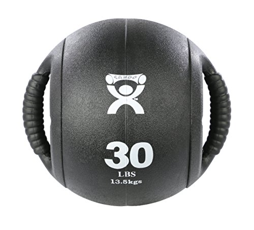 CanDo Dual-Handle Medicine Ball – 9 Diameter – Black – 30 lb