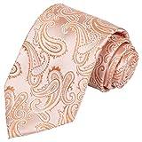 KissTies Extra Long Peach Tie Paisley Necktie + Gift Box(63'' XL)