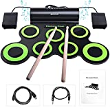 Electronic Drum Set, BONROB Drum Pad Foldable Roll Up Drum Kit Built in Speaker With Drum Sticks, 7 Drum Pads With Headphone Jack For Practice Starters Kids Gift (Green)
