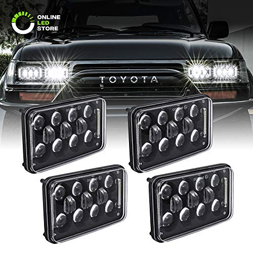 Sealed Beam Assembly - 4pc 4x6 LED Sealed Beam Headlight Assembly [12,000 Lumens] [High/Low + DRL] [Black Housing] H4651 H4652 H4656 H4666 H6545 H6054 Replacement