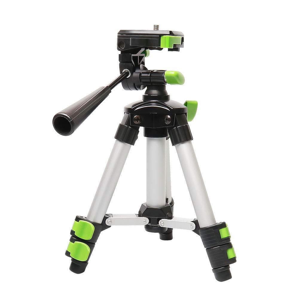 Huepar TPD05 19.7'' Lightweight Aluminum Tripod-Mini Portable Adjustable Tripod for Laser Level and Camera, with 3-Way Flexible Pan Head and Bubble Level, Quick Release Plate with 1/4''-20 Screw Mount