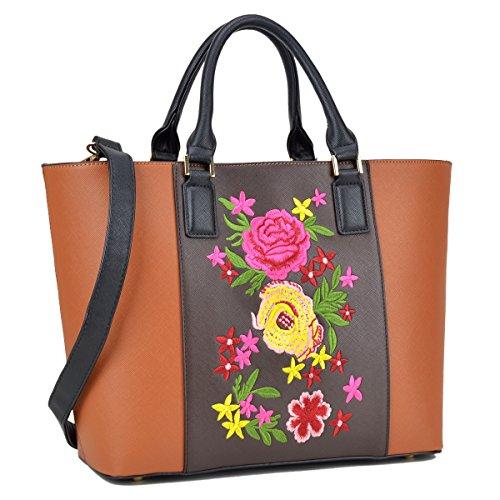 Brown Striped Handbag (Dasein Women Classic Designer Flower Embroidery Collection Large Laptop Tote Bag Work Bag Satchel Handbag)