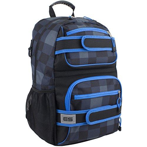 Eastsport Double Strap Skater Multipurpose Backpack, Black/Royal Blue Plaid
