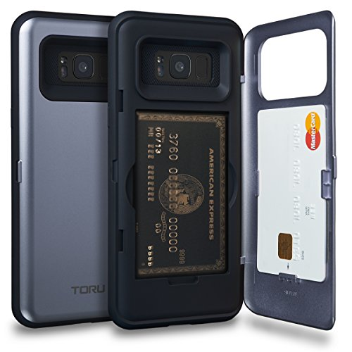 TORU CX PRO Galaxy S8 Plus Wallet Case Blue with Hidden Credit Card Holder ID Slot Hard Cover & Mirror for Samsung Galaxy S8 Plus - Orchid Gray