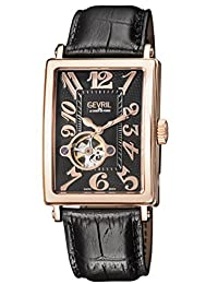 Gevril Men's 'Avenue of Americas' Automatic Gold-Tone and Leather Casual Watch, Color:Black (Model: 5171)