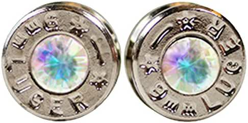 OPG3 Silver Plated Bullet Shell Stud Earrings with Opal Swarovski Crystals