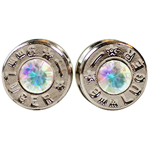 Plated Bullet (OPG3 Silver Plated Bullet Shell Stud Earrings with Opal Swarovski Crystals)