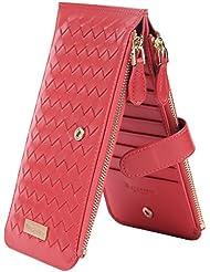 Borgasets Women's Weave Genuine Leather Zipper Wallet