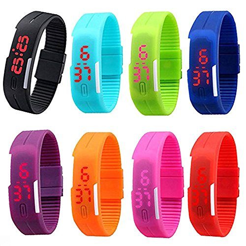 CdyBox 8 Pack Wholesale Men Women Kids Digital Wristwatch Touch Screen LED Bracelet Silicone Band Watch (Watch Digital Bracelet)