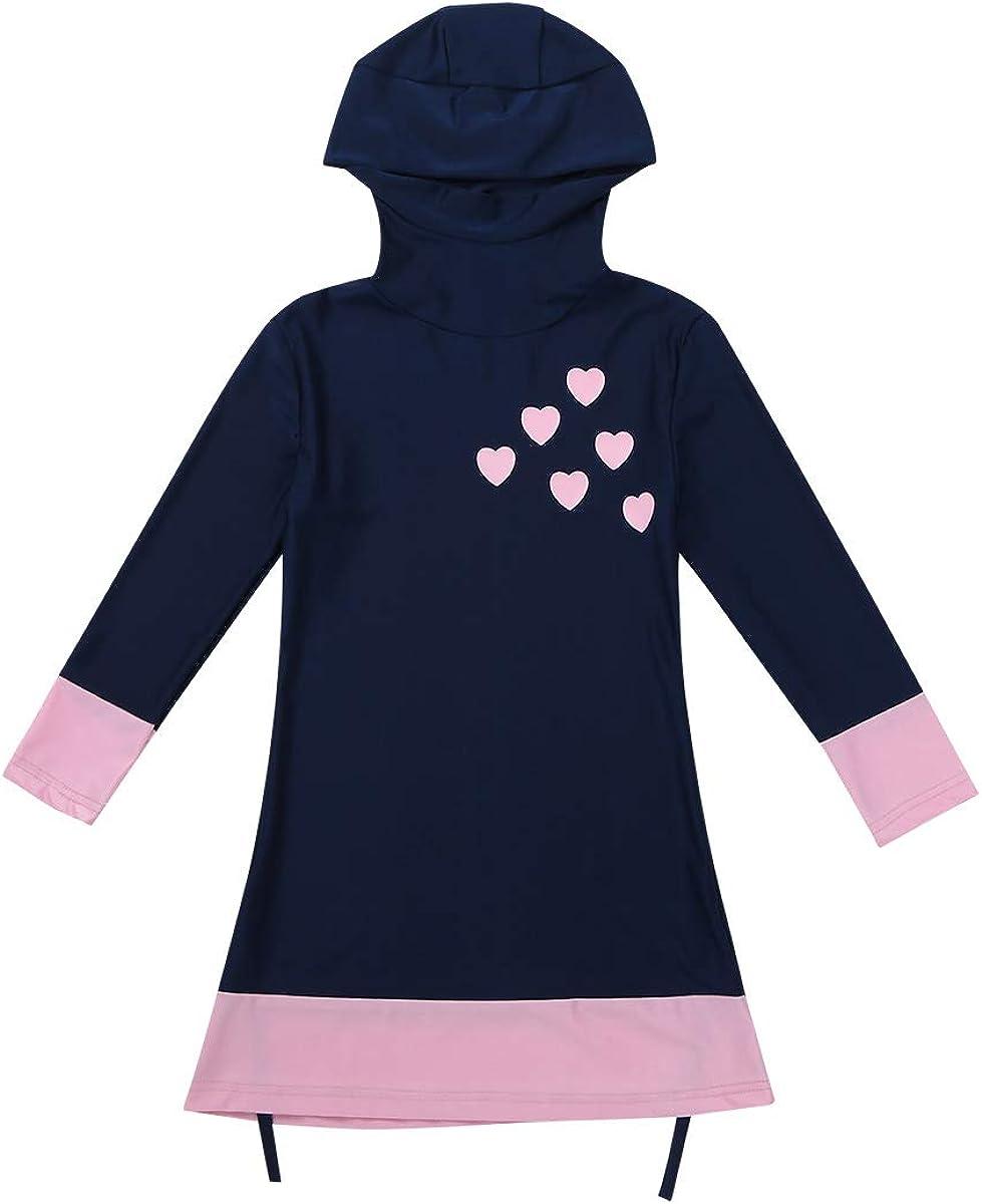 inlzdz Kids Girls Modest Muslim Full Body Swimsuit Love Heart Hijab Burkini Swimwear Sun Protective Tankini Navy Blue 12-14