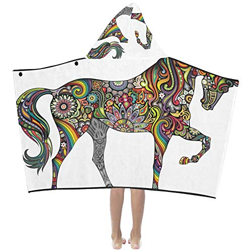 Horse Vivildy Running Animal Soft Warm Cotton Blended Kids Dress Up Hooded Wearable Blanket Bath Towels Throw Wrap for Toddlers Child Girl Boy Size Home Travel Picnic Sleep Gift
