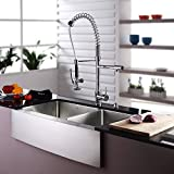 Kraus KHF203-36-KPF1602-KSD30CH 36 inch Farmhouse Double Bowl Stainless Steel Kitchen Sink with Chrome Kitchen Faucet and Soap Dispenser
