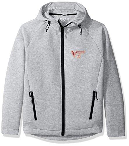 Levelwear LEY9R NCAA Virginia Tech Hokies Adult Men Titan Insignia Full Zip Hooded Jacket, X-Large, Heather Pebble