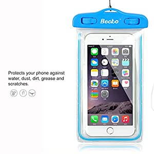 "Becko 5.5"" Blue Waterproof Case Touch Responsive Front and Back, Universal Waterproof Wallet, Dry Bag, Pouch for Iphone 6, 6 Plus, 5, 5s, 4, Samsung Galaxy S4, Samsung Note, Gps, Mp3 Player and Digital Cameras. Perfect to Swimming, Surfing, Fishing, Boating, Skiing, Camping and Other Outdoor Sports."