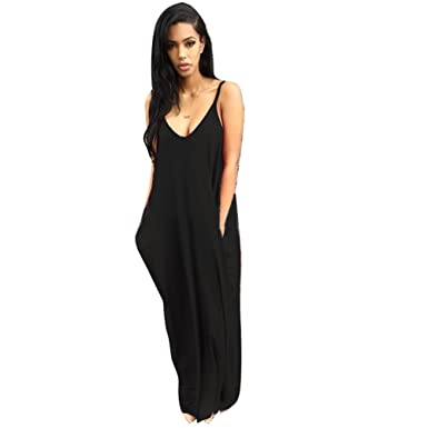 40e726f4df Bodycon4U Women's Summer Sleeveless Strappy Loose Fit Beach Maxi Dress Black  S