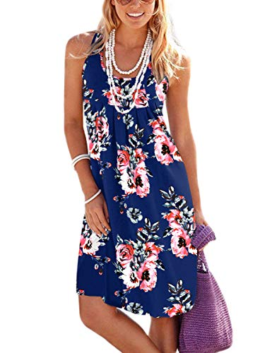 Jouica Floral Summer Beach Dresses for Women Cotton Mini Sundress Sleeveless Pleated Floral Dresses(Flower Navy Blue,XL)