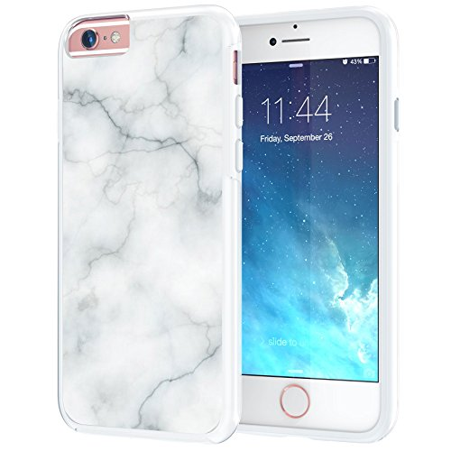 iPhone 6 6s Case, True Color White Marble [Stone Texture Collection] Slim Hybrid Hard Back + Soft TPU Bumper Protective Durable [True Protect Series] iPhone 6 / 6s 4.7