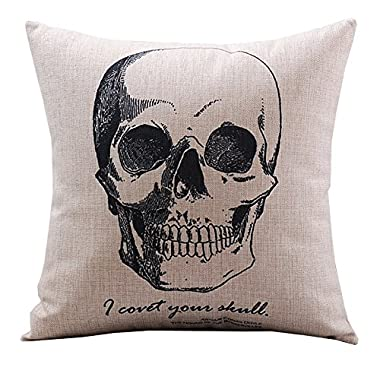 Create For-Life Cotton Linen Decorative Pillowcase Throw Pillow Cushion Cover Gothic Horror Skull Square 18