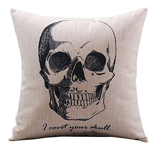 CoolDream Cotton Linen Decorative Pillowcase Throw Pillow Cushion Cover Gothic Horror Skull Square 18
