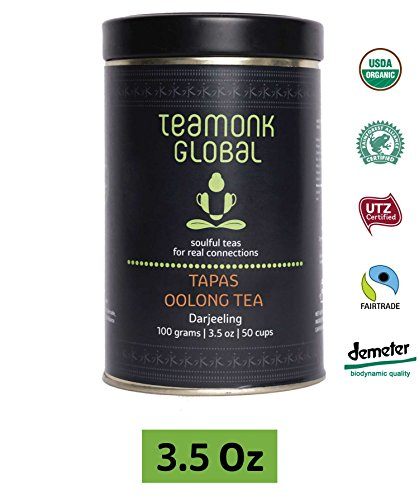 Teamonk Darjeeling Organic Oolong Tea for Weight Loss, 3.5oz (50 Cups) | 100% Natural Loose Leaf Tea | Tapas Oolong Tea for Weight Loss | No Additives, USDA Organic Certified