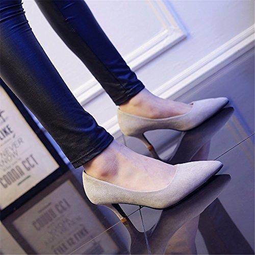 HXVU56546 Durante La Primavera Y El Otoño Nuevos De Tacón Alto De Satén Zapatos De Mujer Fina Con La Punta Del Zapato, Con Zapatos De Mujer ,40, Gris
