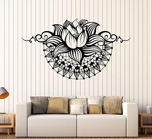 Vinyl Wall Decal Lotus Yoga Spa Center Bedroom Design Stickers Large Decor (750ig) Gold Metallic