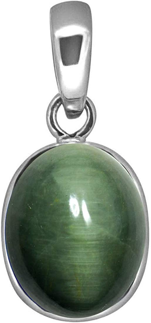 Pendentif /œil de chat en argent sterling 5 carats avec pierre pr/écieuse ovale verte