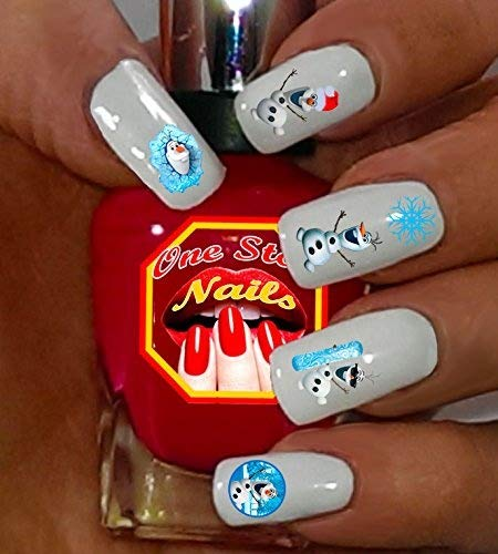 Christmas Disney Frozen Nail Art Decals. Clear Waterslide Nail Decals (Tattoo) Set of 51 DFR-001-51 by One Stop Nails