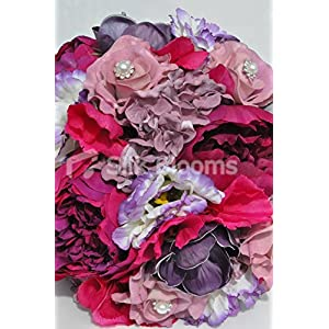 Gorgeous Artificial Silk Pink Peony, Lisianthus and Rose Bridesmaid Bouquet with Anemones 2