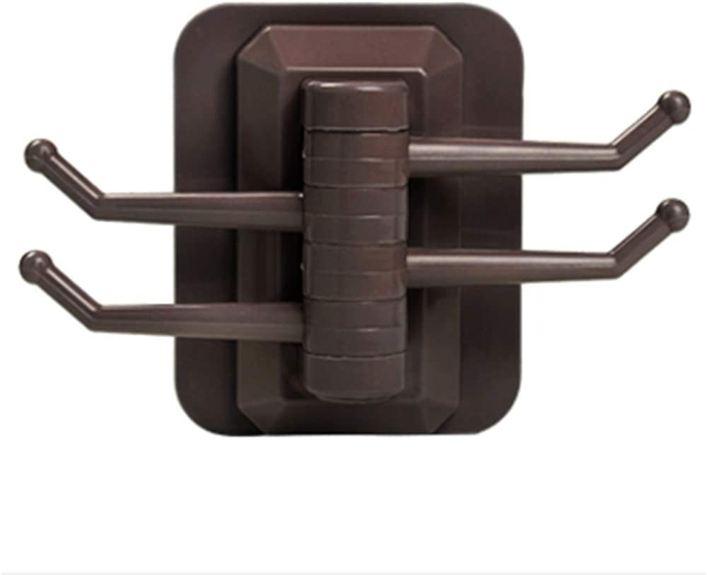 Brown Cupcinu Seamless Hook Rotate 4 Links Towel Hook Coat Rack Wall Mount Hanger Heavy Duty Clothes Holder Kitchen Hooks for Office Kitchen Bathroom Cabinet Draw Clothes
