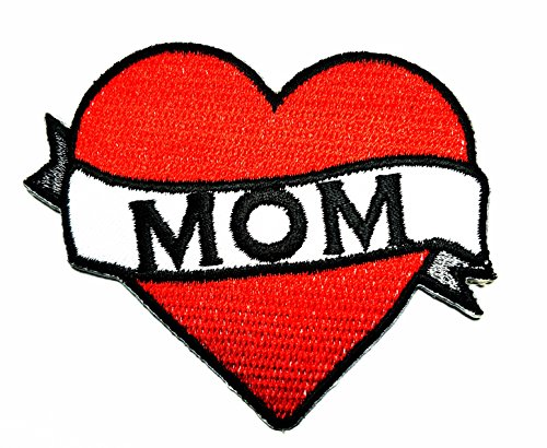 HHO LOVE MOM Patch Embroidered DIY Patches, Cute Applique Sew Iron on Kids Craft Patch for Bags Jackets Jeans Clothes