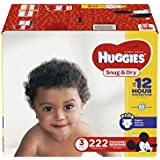 HUGGIES Snug & Dry Diapers, Size 3, for 16-28 lbs, One Month Supply (222 Count) of Baby Diapers, Packaging May Vary