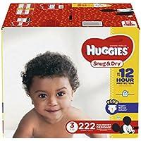 Huggies Snug & Dry pañales, tamaño 3, 222Count (suministro de un mes) (embalaje puede variar)