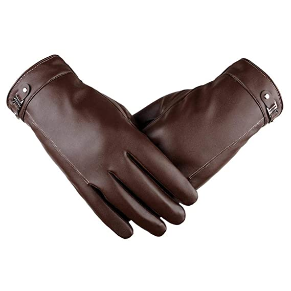 094dffc94671a Écran Tactile Sms Gants Hiver Hommes En Cuir Fashion Épais Doublure Épaisse  À La Mode En Plein Air Gants Hommes Gants (Color : Noir, Size : One Size):  ...