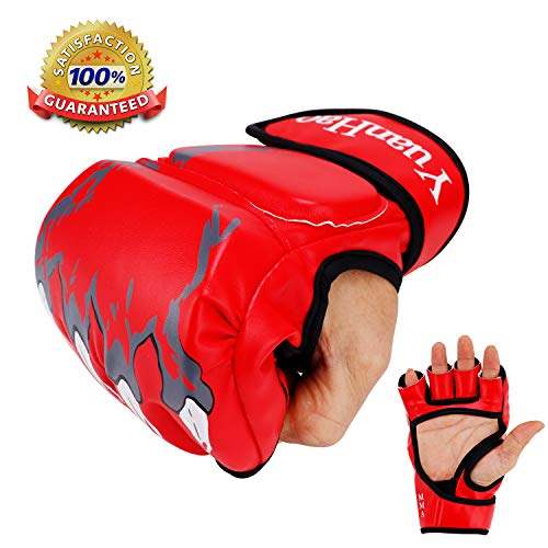 MMA Gloves Kickboxing Punching Gloves - Half-finger UFC Boxing Fight Gloves with Adjustable Wrist Band for Men Women for Muay Thai Sanda Sparring Bag Training Mixed Martial Arts Red One Size Fits Most ()