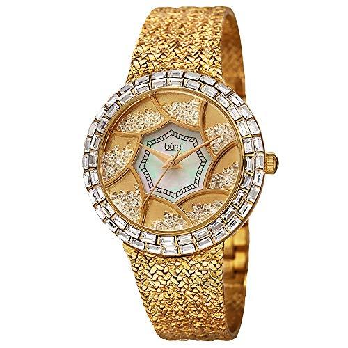 - Burgi Women's Crystal Baguette Bezel Watch - Mother-of-Pearl & Floating Crystal Dial On Flower Pattern Bracelet - BUR118