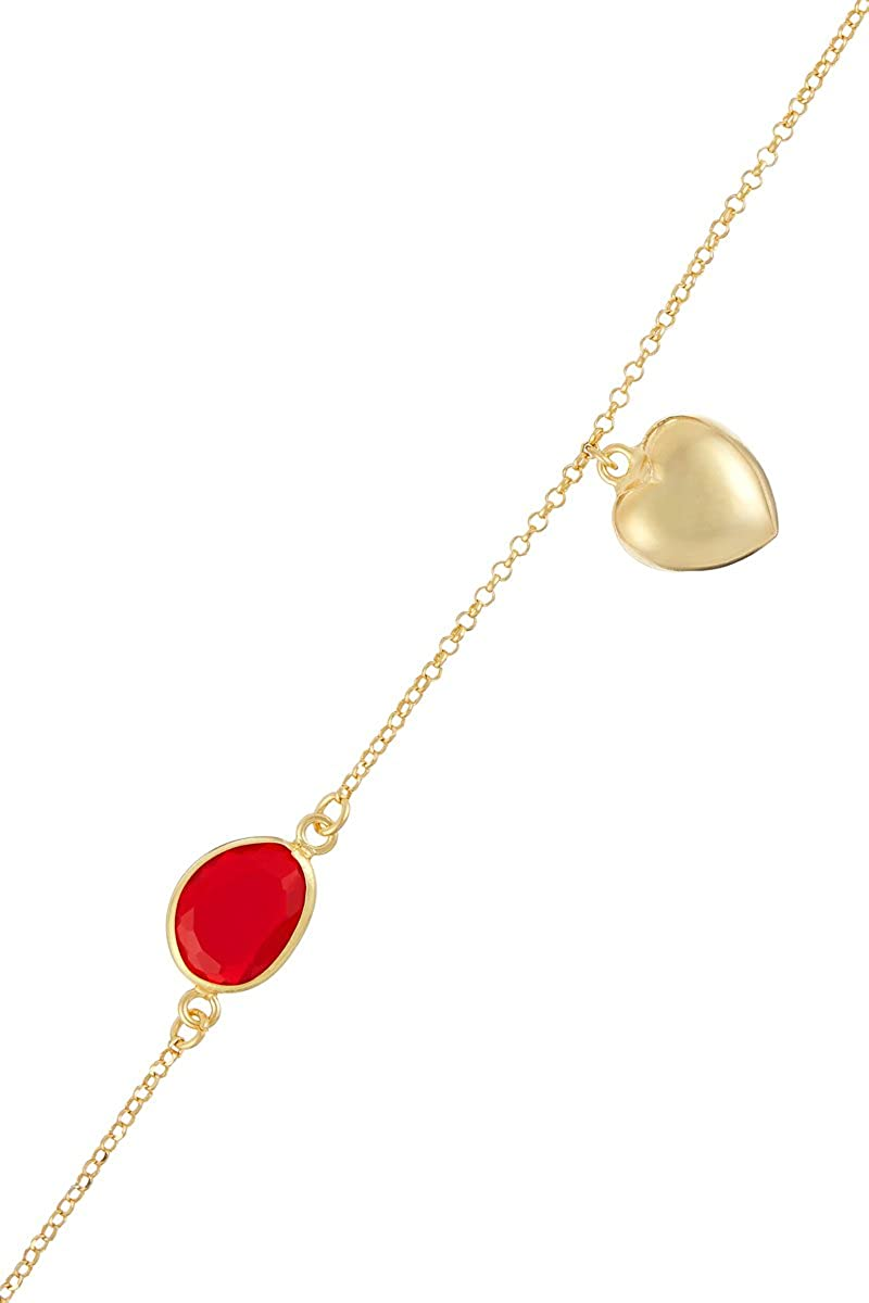 Córdoba Jewels | Pulsera en Plata de Ley 925 bañada en Oro con Piedra semipreciosa. Diseño Corazón Rubi Kiut Rubí Gold