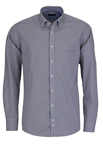 HATICO Regular Fit Hemd Langarm mit Besatz Karo blau