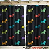warmfamily Dog Lover Blackout Curtain Colorful Dog Silhouettes West Highland Terriers Canine Cartoon Style Animal Fun W120 x L108 Multicolor