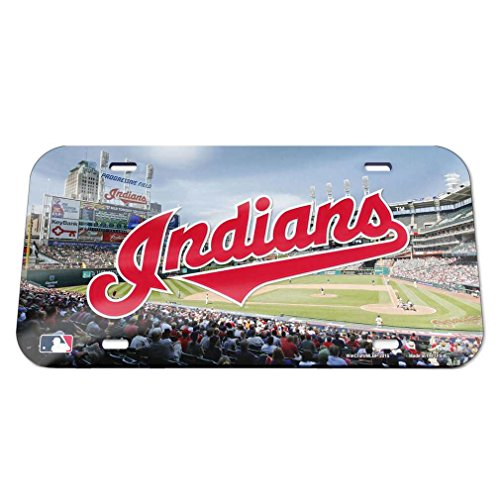 (Wincraft MLB Cleveland Indians Crystal Mirror Stadium License Plate, Team Color, One Size)